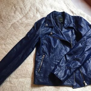faux electric blue leather jacket